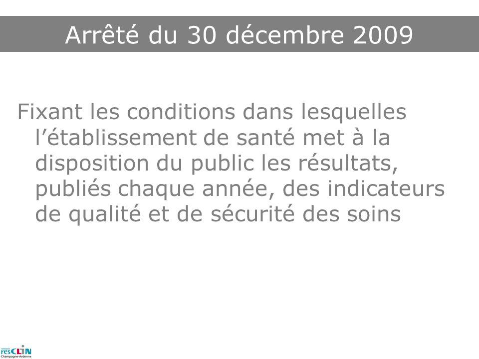 Fixant les conditions dans lesquelles létablissement de santé met à la disposition du public les résultats, publiés chaque année, des indicateurs de qualité et de sécurité des soins Arrêté du 30 décembre 2009