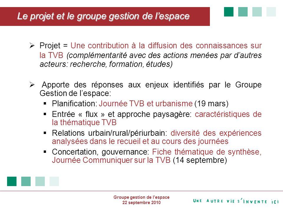 Groupe gestion de lespace 22 septembre 2010 Enseignements Enjeux / Réponses apportéesDifficultés rencontrées Implication de différents réseaux.Mobiliser les partenaires dans le temps.