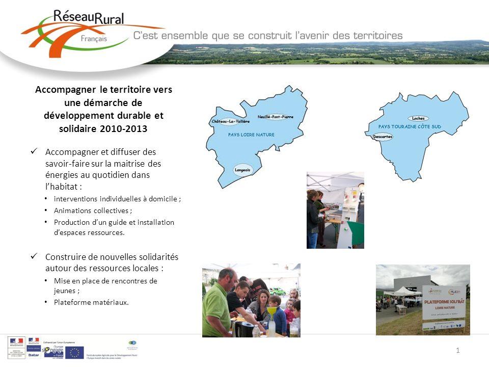 Accompagner le territoire vers une démarche de développement durable et solidaire 2010-2013 Accompagner et diffuser des savoir-faire sur la maitrise d