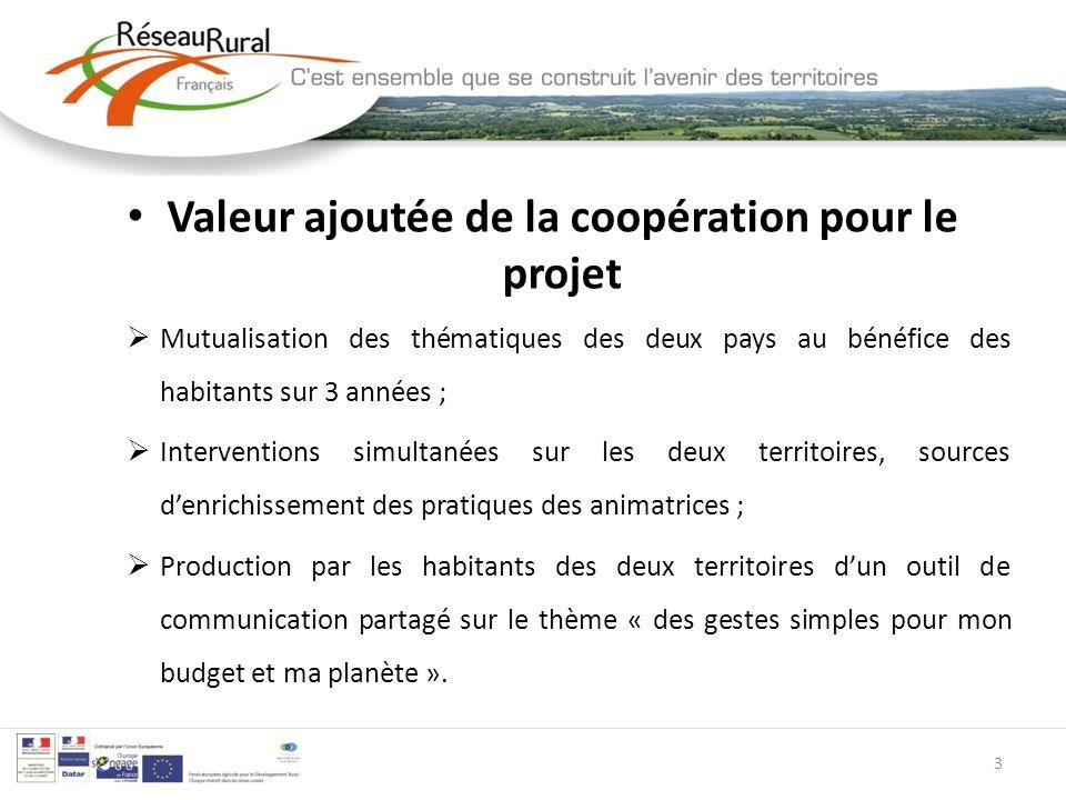 Valeur ajoutée de la coopération pour le projet Mutualisation des thématiques des deux pays au bénéfice des habitants sur 3 années ; Interventions sim