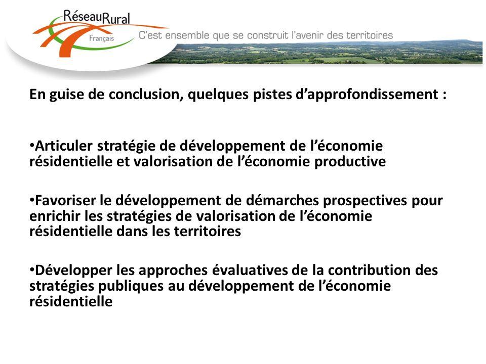 En guise de conclusion, quelques pistes dapprofondissement : Articuler stratégie de développement de léconomie résidentielle et valorisation de lécono