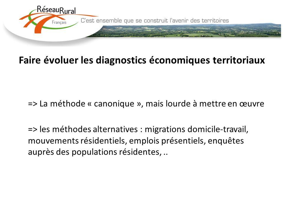 Faire évoluer les diagnostics économiques territoriaux => La méthode « canonique », mais lourde à mettre en œuvre => les méthodes alternatives : migra