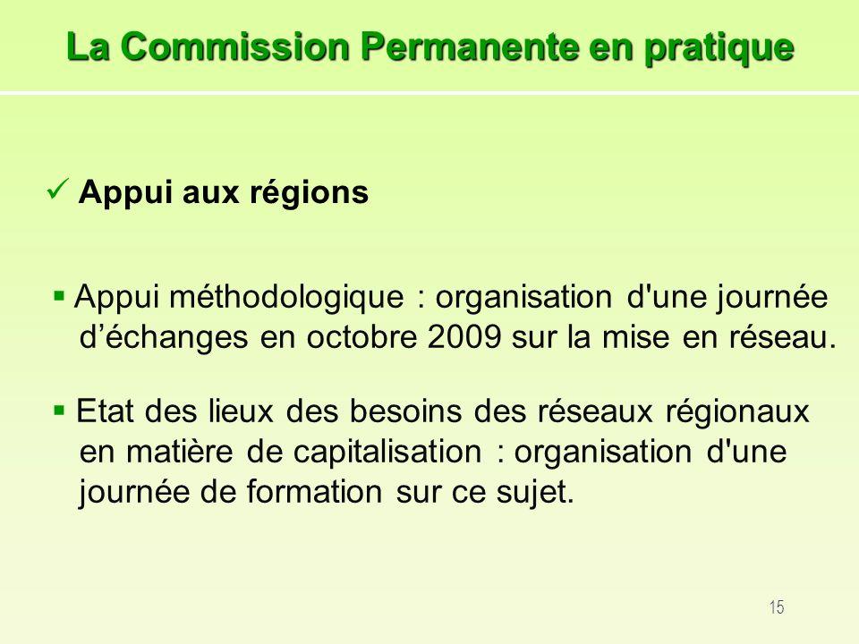 15 Appui méthodologique : organisation d une journée déchanges en octobre 2009 sur la mise en réseau.