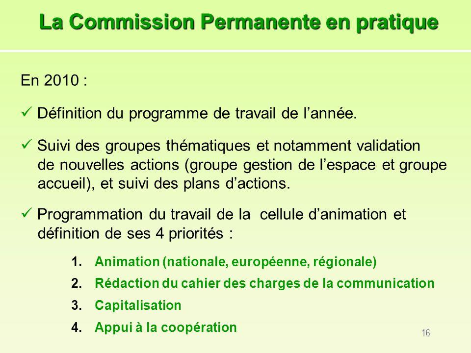 16 En 2010 : Définition du programme de travail de lannée.