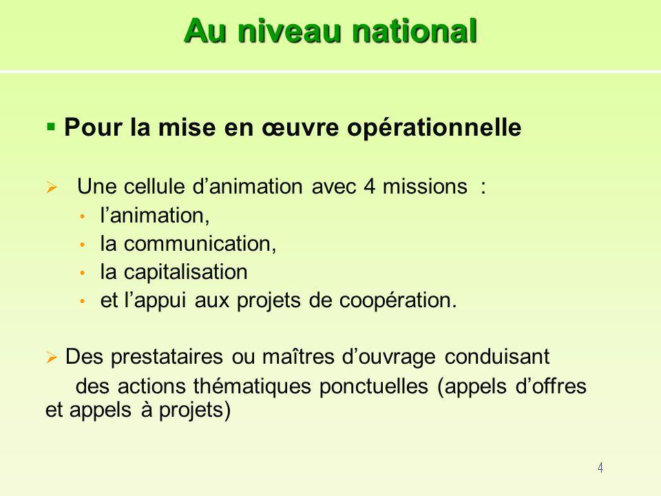 4 Pour la mise en œuvre opérationnelle Une cellule danimation avec 4 missions : lanimation, la communication, la capitalisation et lappui aux projets de coopération.