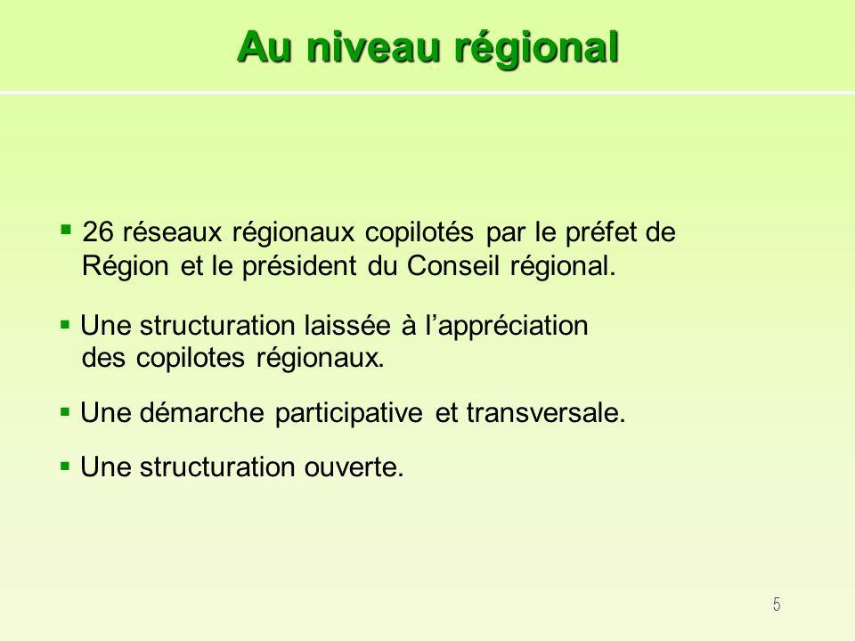 5 26 réseaux régionaux copilotés par le préfet de Région et le président du Conseil régional.