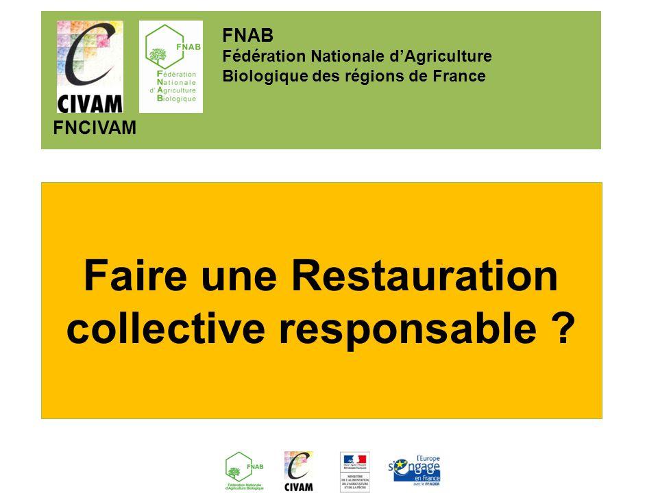 Un projet inscrit dans le cadre du réseau rural français du sous groupe de travail « agriculture et alimentation » et du thème « valorisation économique et territoriale des ressources locales » FNAB Fédération Nationale dAgriculture Biologique des régions de France FNCIVAM