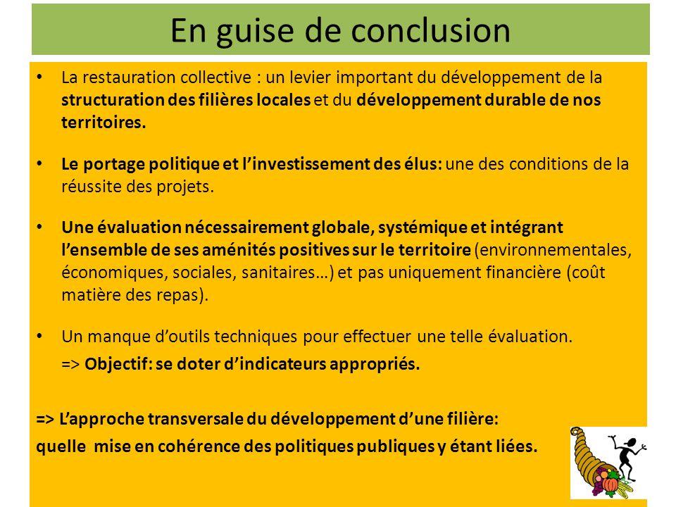 En guise de conclusion La restauration collective : un levier important du développement de la structuration des filières locales et du développement durable de nos territoires.