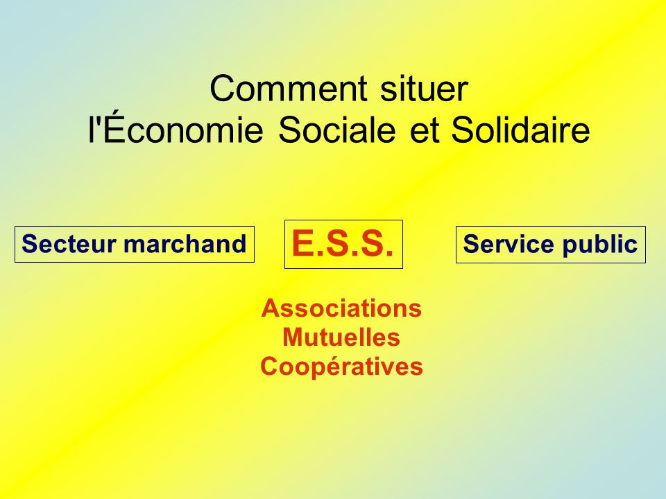 Comment situer l Économie Sociale et Solidaire E.S.S.