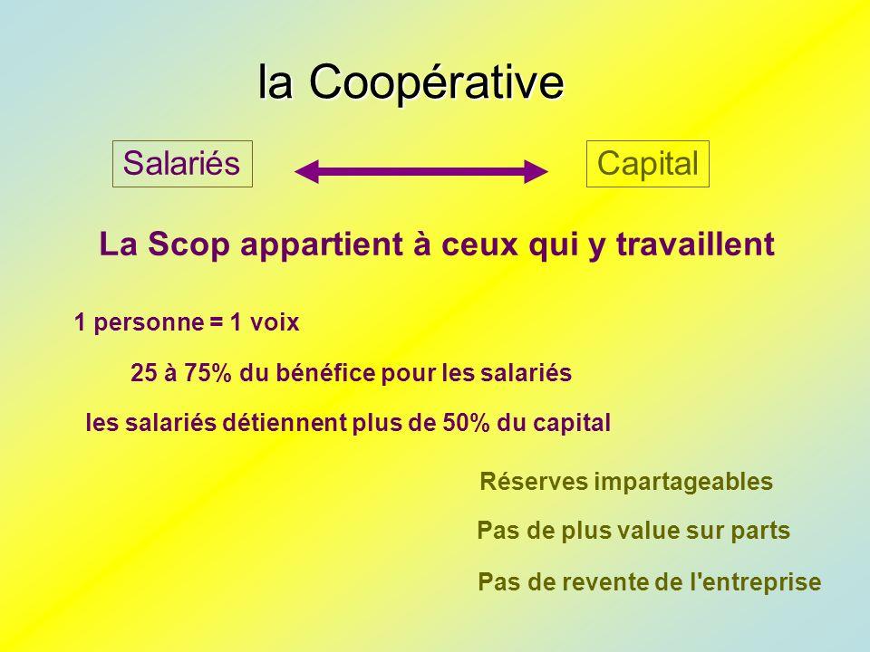 laCoopérative la Coopérative CapitalSalariés 25 à 75% du bénéfice pour les salariés les salariés détiennent plus de 50% du capital La Scop appartient à ceux qui y travaillent Pas de plus value sur parts 1 personne = 1 voix Réserves impartageables Pas de revente de l entreprise