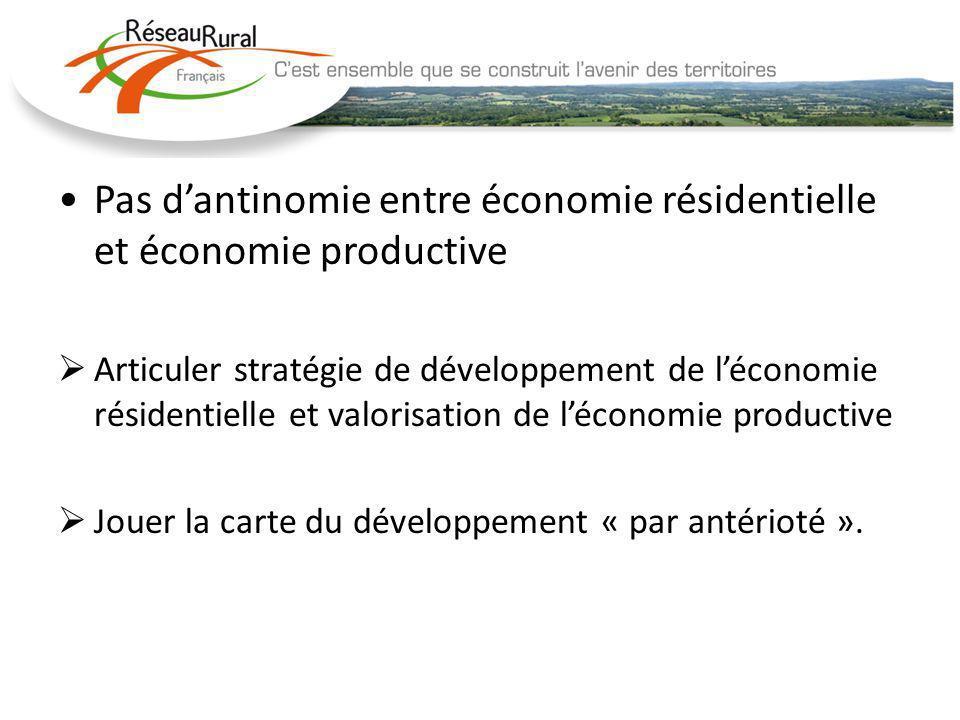Pas dantinomie entre économie résidentielle et économie productive Articuler stratégie de développement de léconomie résidentielle et valorisation de léconomie productive Jouer la carte du développement « par antérioté ».