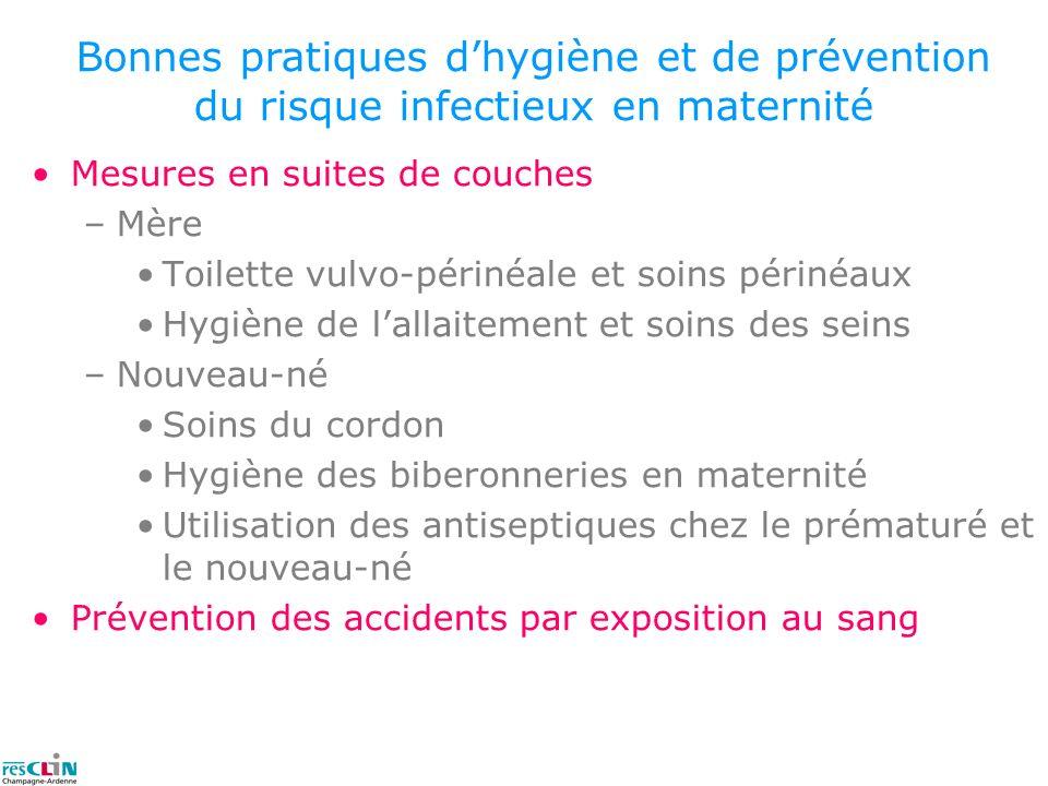 Mesures en suites de couches –Mère Toilette vulvo-périnéale et soins périnéaux Hygiène de lallaitement et soins des seins –Nouveau-né Soins du cordon