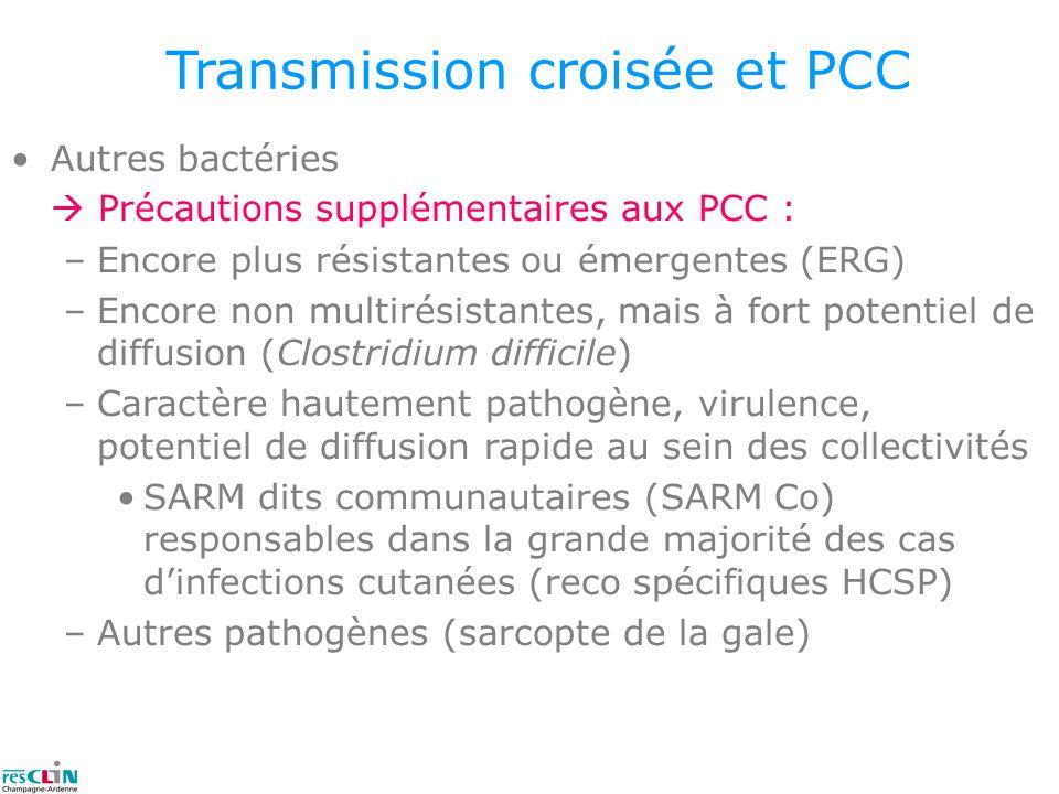 Transmission croisée et PCC Autres bactéries Précautions supplémentaires aux PCC : –Encore plus résistantes ou émergentes (ERG) –Encore non multirésis