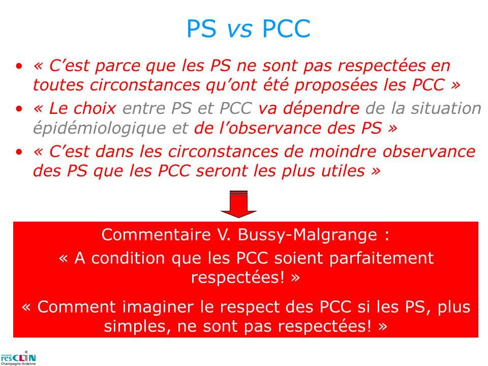 PS vs PCC « Cest parce que les PS ne sont pas respectées en toutes circonstances quont été proposées les PCC » « Le choix entre PS et PCC va dépendre
