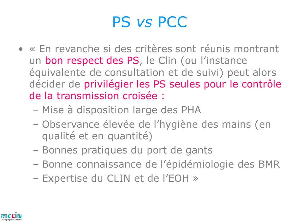 PS vs PCC « En revanche si des critères sont réunis montrant un bon respect des PS, le Clin (ou linstance équivalente de consultation et de suivi) peu