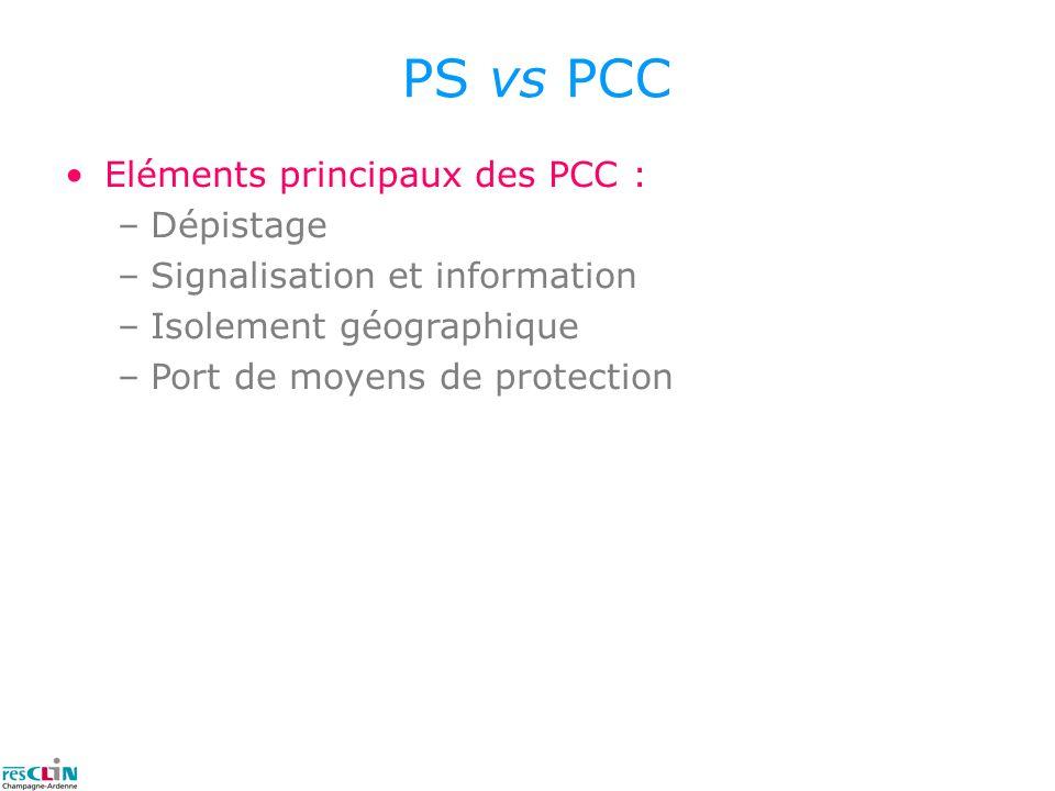 PS vs PCC Eléments principaux des PCC : –Dépistage –Signalisation et information –Isolement géographique –Port de moyens de protection