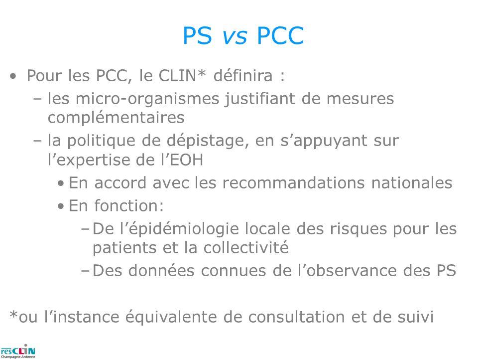 PS vs PCC Pour les PCC, le CLIN* définira : –les micro-organismes justifiant de mesures complémentaires –la politique de dépistage, en sappuyant sur l