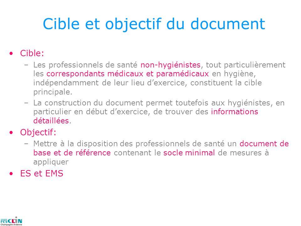 Cible et objectif du document Cible: –Les professionnels de santé non-hygiénistes, tout particulièrement les correspondants médicaux et paramédicaux e