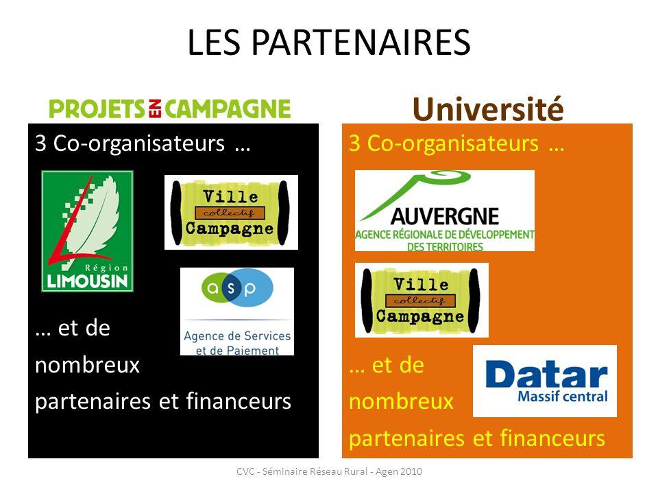 LES PARTENAIRES CVC - Séminaire Réseau Rural - Agen 2010 Université 3 Co-organisateurs … … et de nombreux partenaires et financeurs 3 Co-organisateurs … … et de nombreux partenaires et financeurs