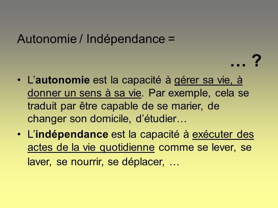 Autonomie / Indépendance = … ? Lautonomie est la capacité à gérer sa vie, à donner un sens à sa vie. Par exemple, cela se traduit par être capable de