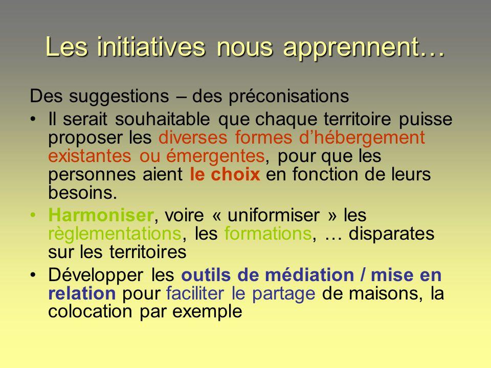 Les initiatives nous apprennent… Des suggestions – des préconisations Il serait souhaitable que chaque territoire puisse proposer les diverses formes