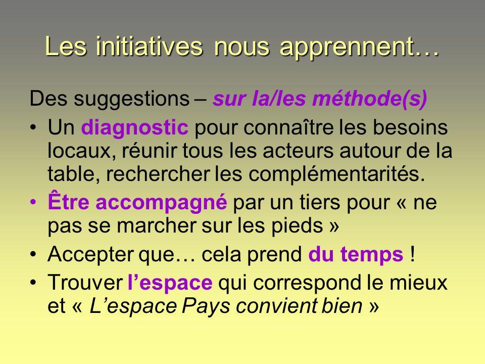Les initiatives nous apprennent… Des suggestions – sur la/les méthode(s) Un diagnostic pour connaître les besoins locaux, réunir tous les acteurs auto