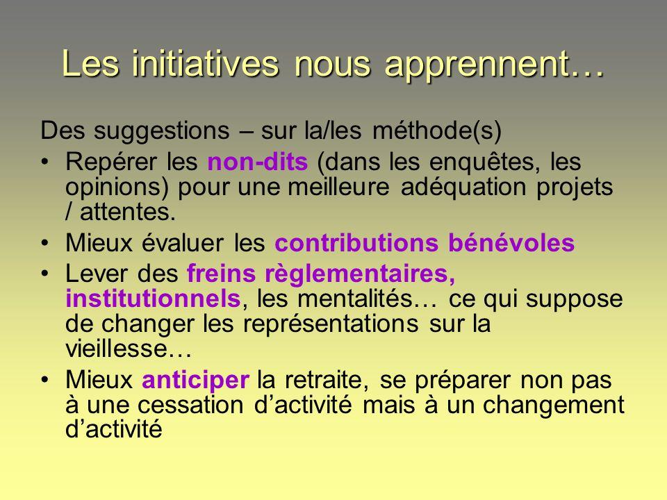 Les initiatives nous apprennent… Des suggestions – sur la/les méthode(s) Repérer les non-dits (dans les enquêtes, les opinions) pour une meilleure adé
