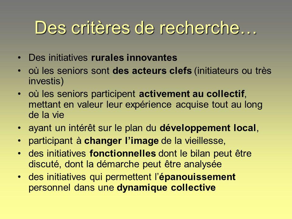 Des critères de recherche… Des initiatives rurales innovantes où les seniors sont des acteurs clefs (initiateurs ou très investis) où les seniors part
