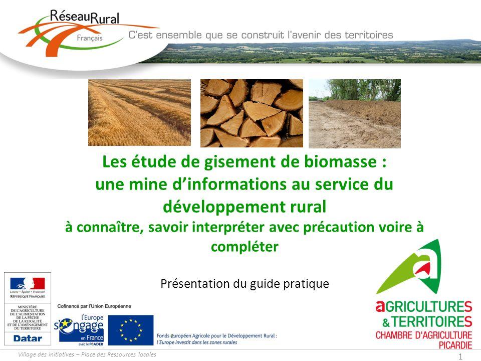 Village des initiatives – Place des Ressources locales 1 Les étude de gisement de biomasse : une mine dinformations au service du développement rural