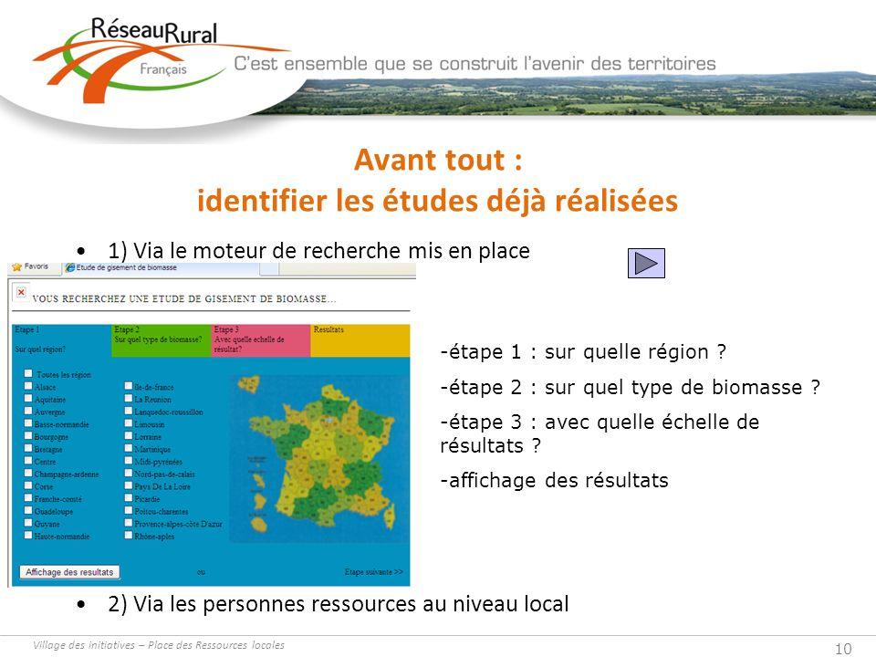 10 Avant tout : identifier les études déjà réalisées 1) Via le moteur de recherche mis en place 2) Via les personnes ressources au niveau local -étape