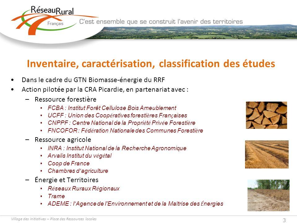 Village des initiatives – Place des Ressources locales 3 Inventaire, caractérisation, classification des études Dans le cadre du GTN Biomasse-énergie