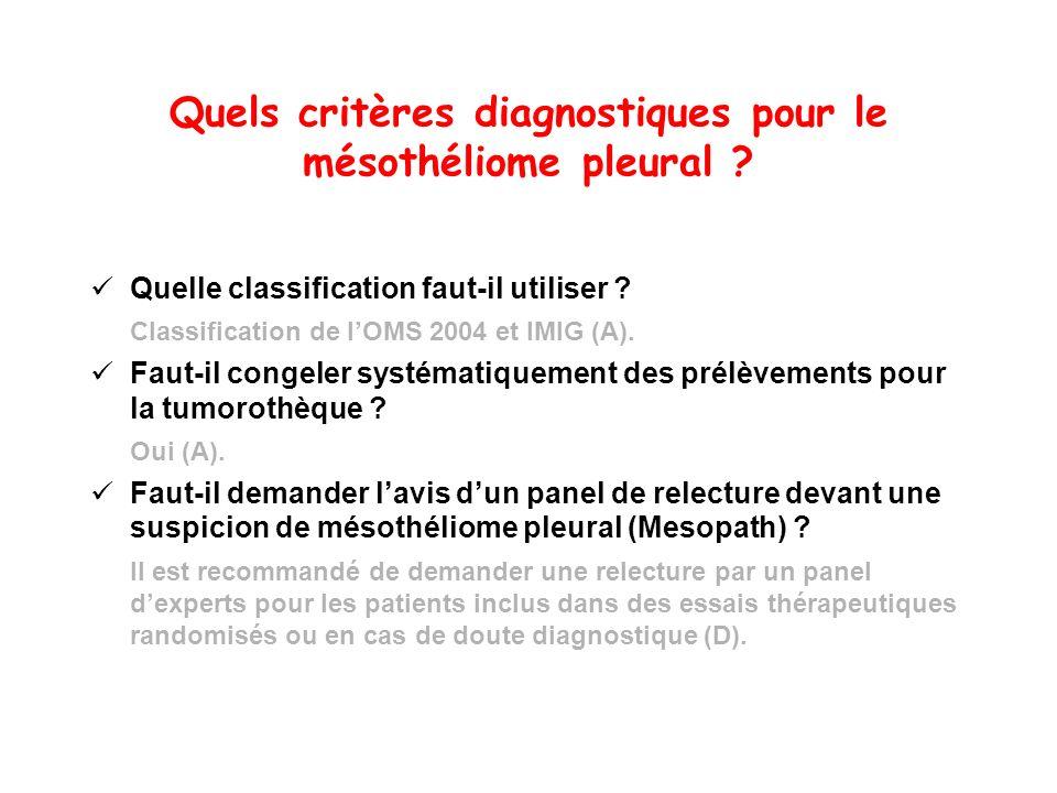 Quels critères diagnostiques pour le mésothéliome pleural ? Quelle classification faut-il utiliser ? Classification de lOMS 2004 et IMIG (A). Faut-il