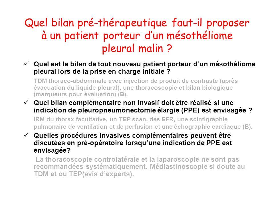 Quel bilan pré-thérapeutique faut-il proposer à un patient porteur dun mésothéliome pleural malin ? Quel est le bilan de tout nouveau patient porteur