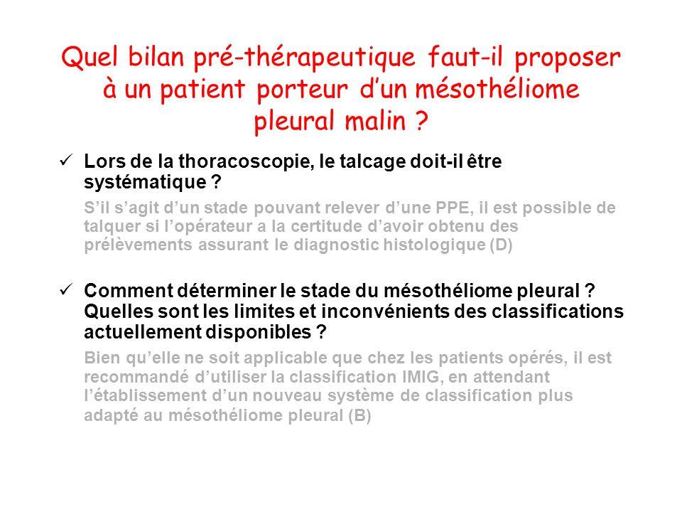 Quel bilan pré-thérapeutique faut-il proposer à un patient porteur dun mésothéliome pleural malin ? Lors de la thoracoscopie, le talcage doit-il être