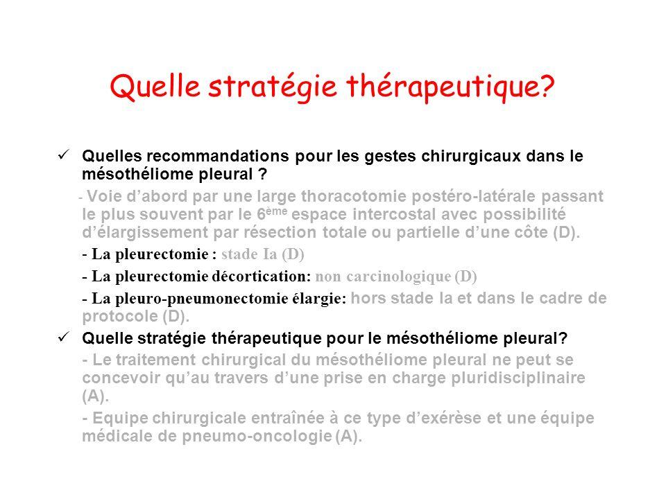 Quelle stratégie thérapeutique? Quelles recommandations pour les gestes chirurgicaux dans le mésothéliome pleural ? - Voie dabord par une large thorac