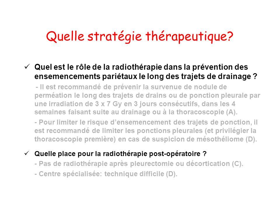 Quelle stratégie thérapeutique? Quel est le rôle de la radiothérapie dans la prévention des ensemencements pariétaux le long des trajets de drainage ?