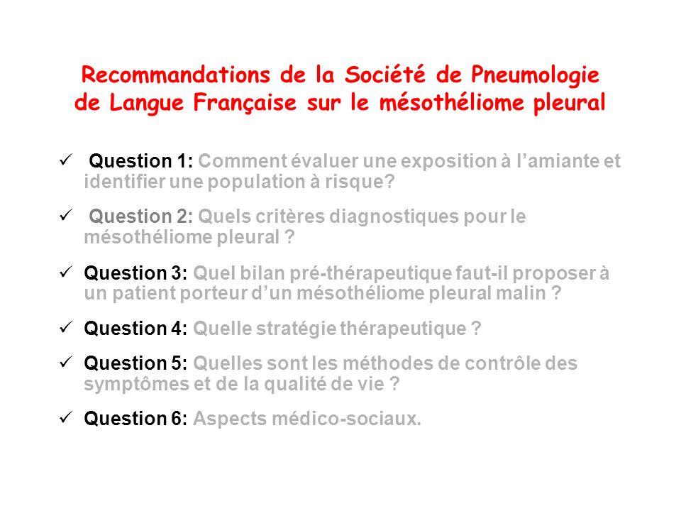 Recommandations de la Société de Pneumologie de Langue Française sur le mésothéliome pleural Question 1: Comment évaluer une exposition à lamiante et