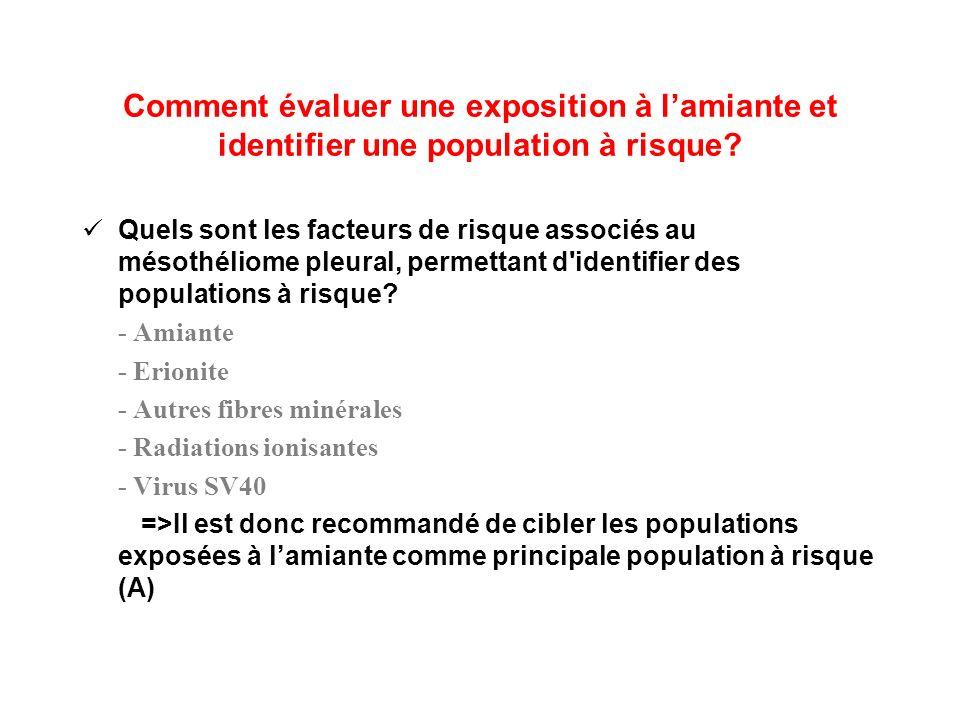 Comment évaluer une exposition à lamiante et identifier une population à risque? Quels sont les facteurs de risque associés au mésothéliome pleural, p