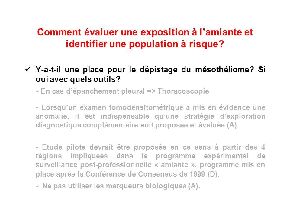 Comment évaluer une exposition à lamiante et identifier une population à risque? Y-a-t-il une place pour le dépistage du mésothéliome? Si oui avec que