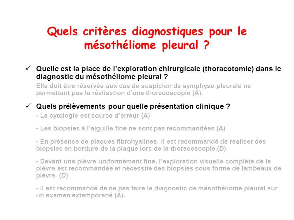 Quels critères diagnostiques pour le mésothéliome pleural ? Quelle est la place de lexploration chirurgicale (thoracotomie) dans le diagnostic du méso
