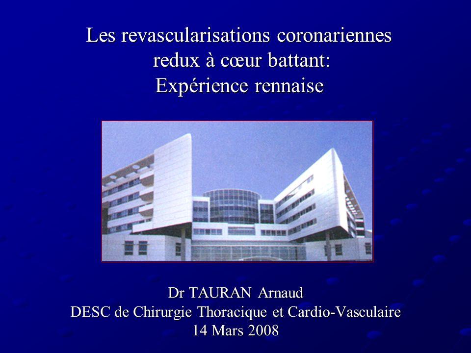 Les revascularisations coronariennes redux à cœur battant: Expérience rennaise Dr TAURAN Arnaud DESC de Chirurgie Thoracique et Cardio-Vasculaire 14 M