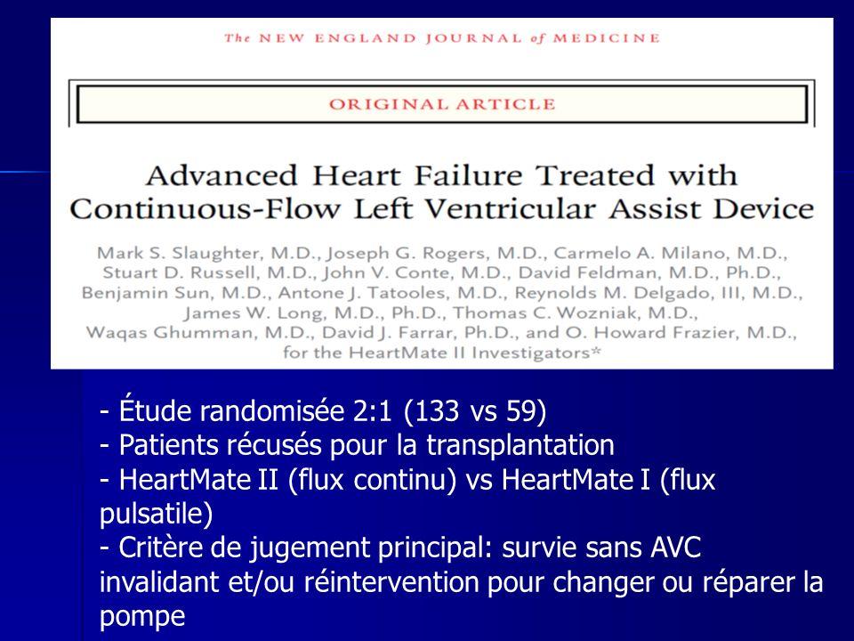 - Étude randomisée 2:1 (133 vs 59) - Patients récusés pour la transplantation - HeartMate II (flux continu) vs HeartMate I (flux pulsatile) - Critère de jugement principal: survie sans AVC invalidant et/ou réintervention pour changer ou réparer la pompe
