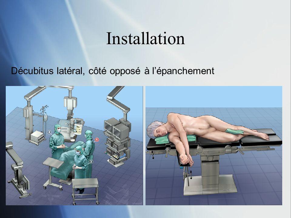 Installation Décubitus latéral, côté opposé à lépanchement