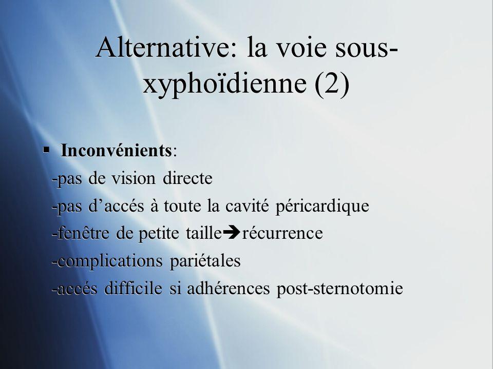 Alternative: la voie sous- xyphoïdienne (2) Inconvénients: -pas de vision directe -pas daccés à toute la cavité péricardique -fenêtre de petite taille récurrence -complications pariétales -accés difficile si adhérences post-sternotomie Inconvénients: -pas de vision directe -pas daccés à toute la cavité péricardique -fenêtre de petite taille récurrence -complications pariétales -accés difficile si adhérences post-sternotomie