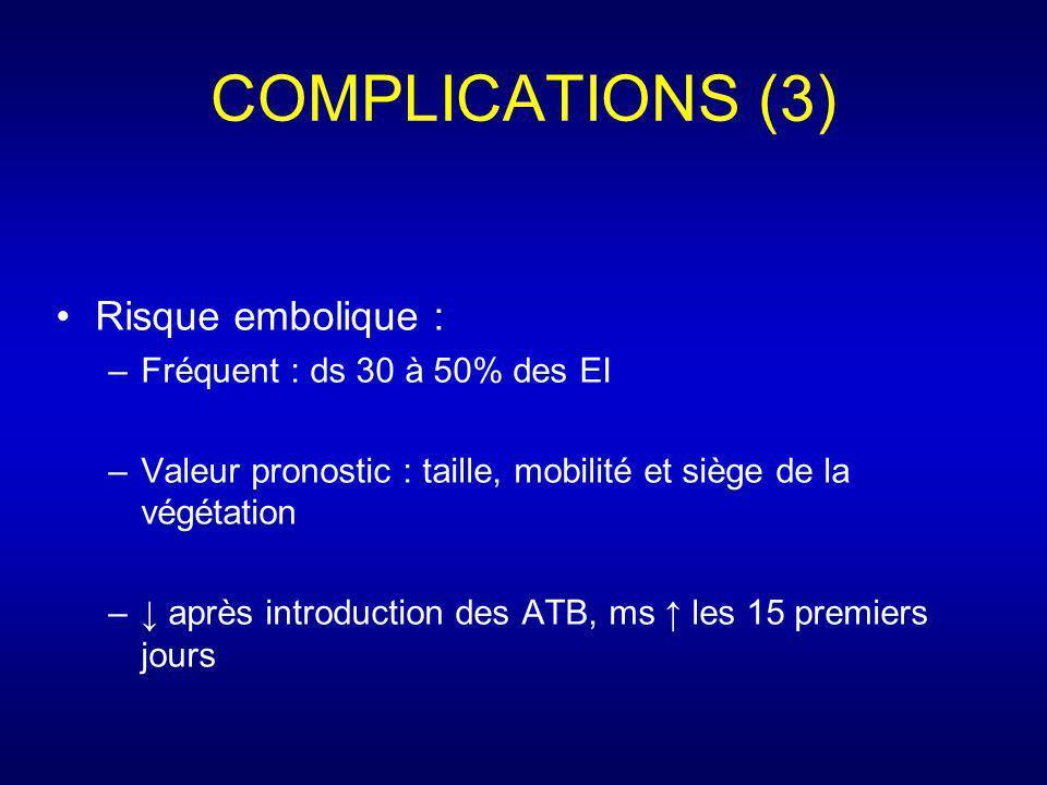 COMPLICATIONS (3) Risque embolique : –Fréquent : ds 30 à 50% des EI –Valeur pronostic : taille, mobilité et siège de la végétation – après introductio