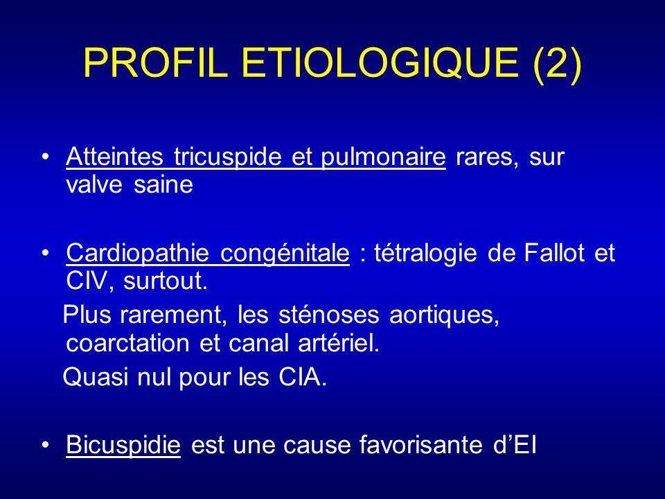 PROFIL ETIOLOGIQUE (2) Atteintes tricuspide et pulmonaire rares, sur valve saine Cardiopathie congénitale : tétralogie de Fallot et CIV, surtout. Plus