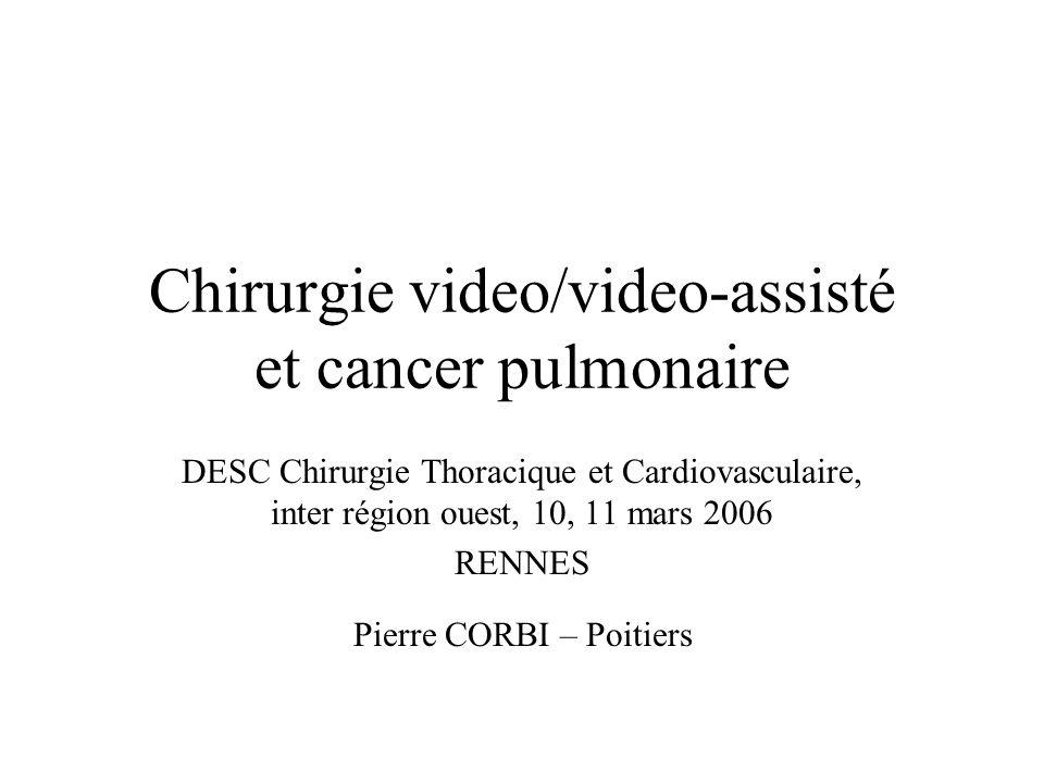 Chirurgie video/video-assisté et cancer pulmonaire DESC Chirurgie Thoracique et Cardiovasculaire, inter région ouest, 10, 11 mars 2006 RENNES Pierre CORBI – Poitiers