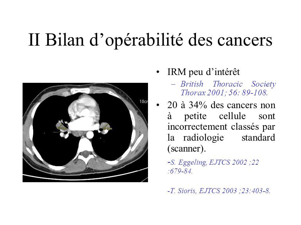 II Bilan dopérabilité des cancers IRM peu dintérêt –British Thoracic Society Thorax 2001; 56: 89-108.