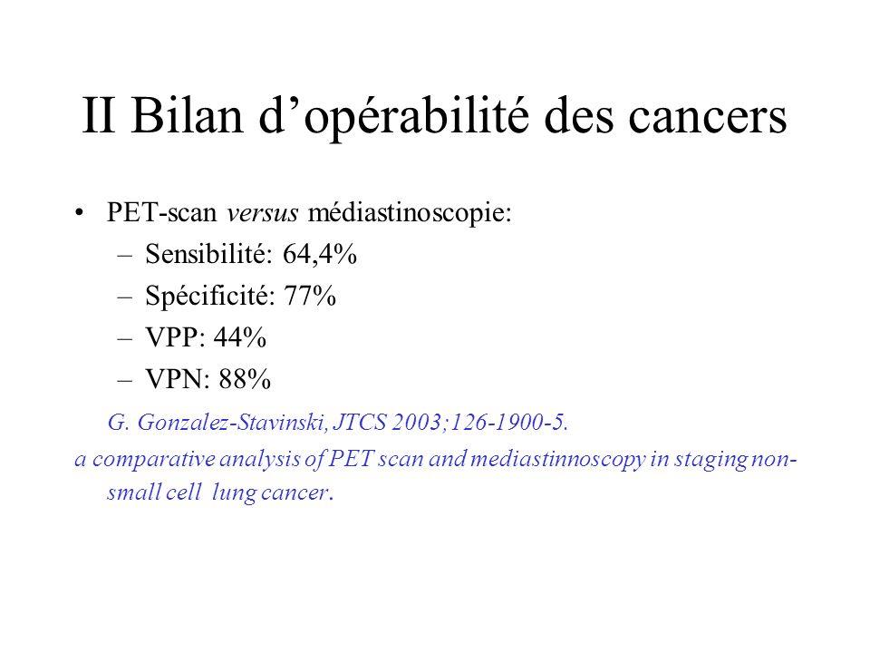 II Bilan dopérabilité des cancers PET-scan versus médiastinoscopie: –Sensibilité: 64,4% –Spécificité: 77% –VPP: 44% –VPN: 88% G.