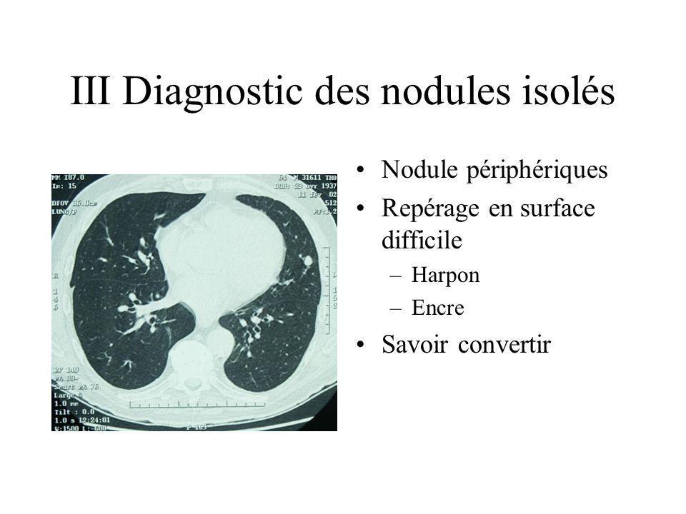 III Diagnostic des nodules isolés Nodule périphériques Repérage en surface difficile –Harpon –Encre Savoir convertir